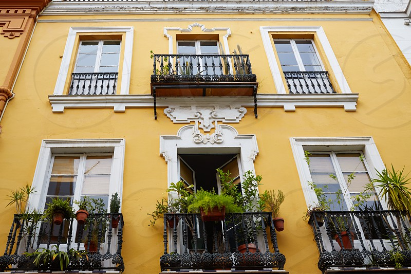 Seville Macarena barrio facades in Sevilla Spain photo