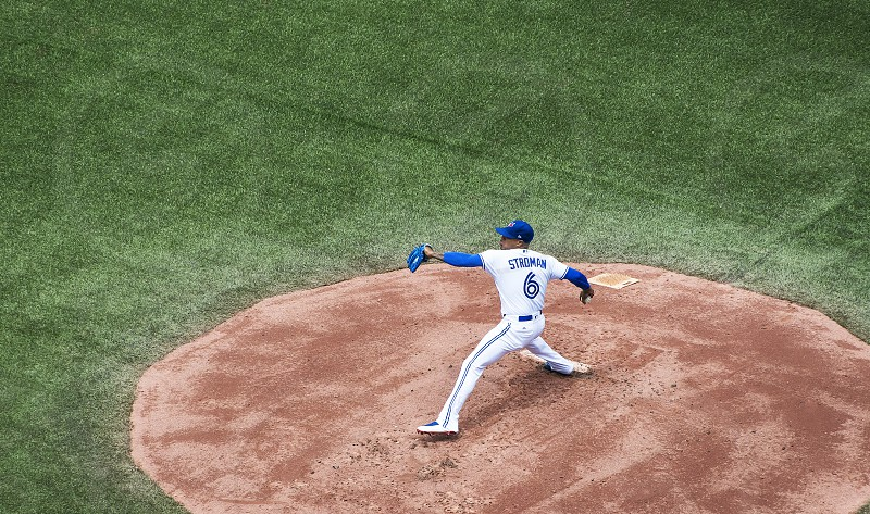 Marcus Stroman on the mound pitching for the Toronto Blue Jays at Rogers Centre. photo