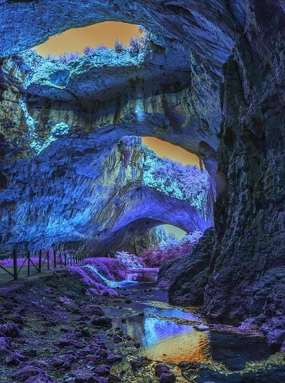 Extraterrestrial panoramic view inside mystic cave.  Davetashka cave in Bulgaria photo