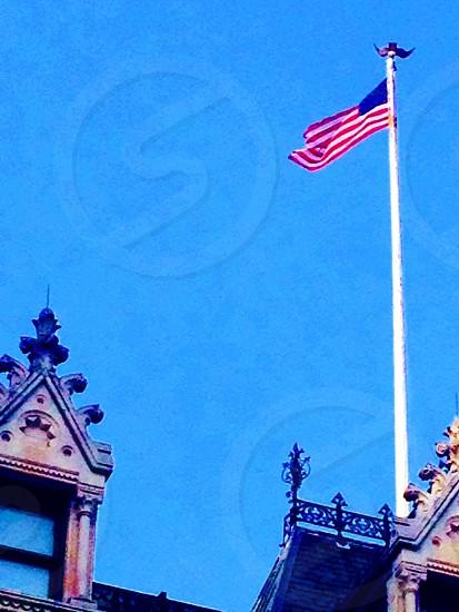 Hartford ct Capitol American flag blue sky patriotic Capitol of CT capitolHartford skyline hartford ct  photo