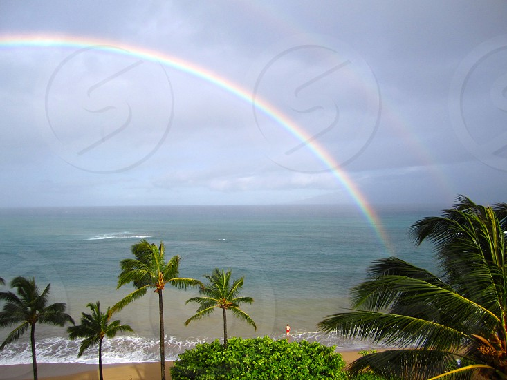Double rainbow at the beach photo
