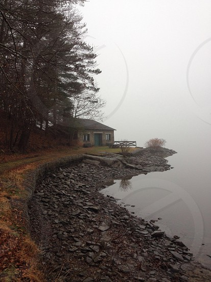 A misty morning view on the Hudson River. photo