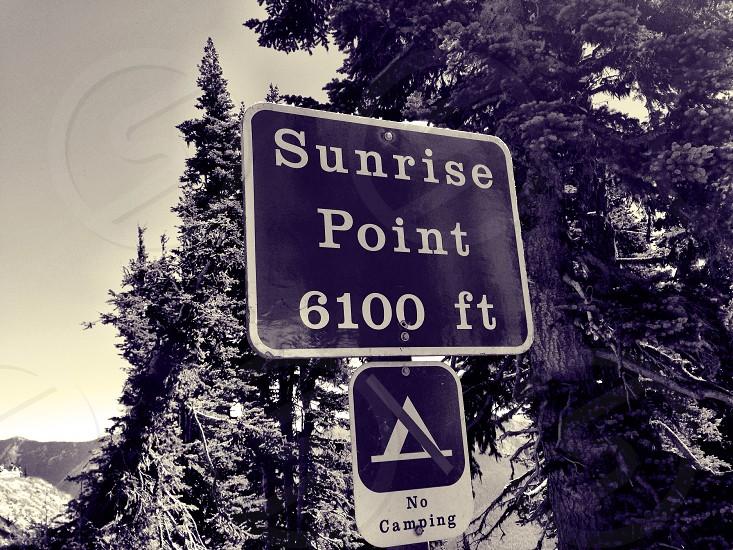 sunrise point 6100 ft street sign photo