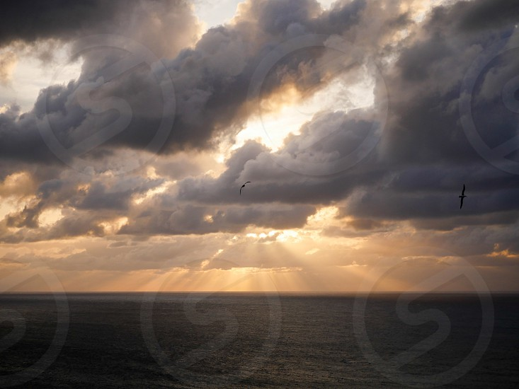 Dramatic sun rays coming out of the clouds during amazing sunset at the ocean  horizon  photo