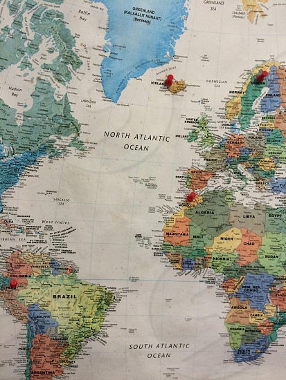 north atlantic ocean map illustration photo