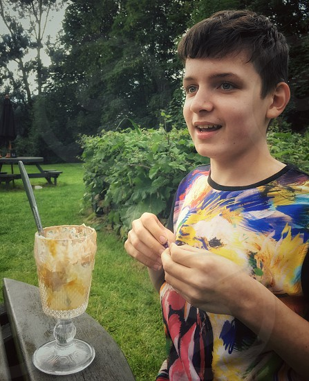 Lunch with teenage son photo
