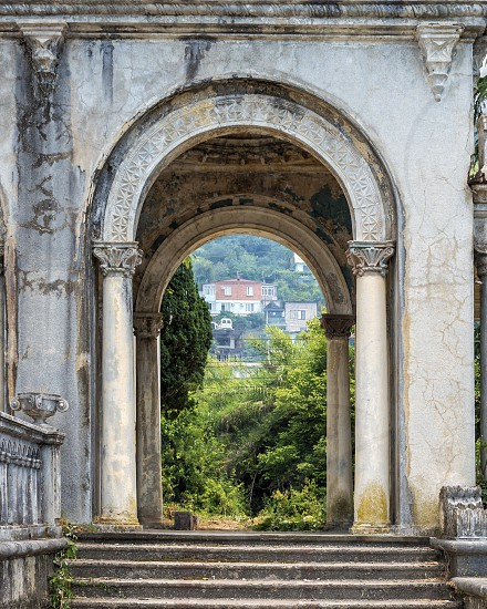 Arch of abandoned railway station  photo