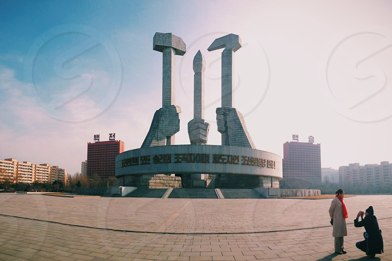 Monument to the Founding of Workers' Party Pyongyang DPRK photo