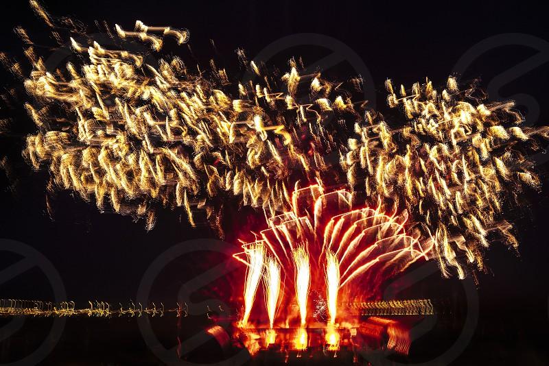 Fireworks. Night long exposure. Fire photo