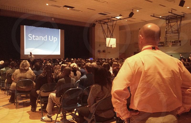 Principal Seiler at a school assembly on bullying.  photo