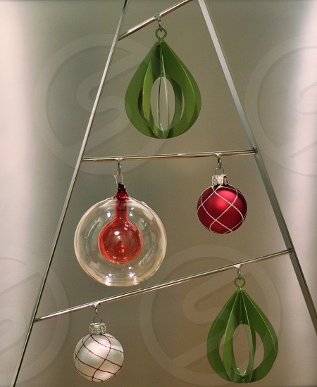 Abstract and modern christmas tree. Silver green and red colors. photo