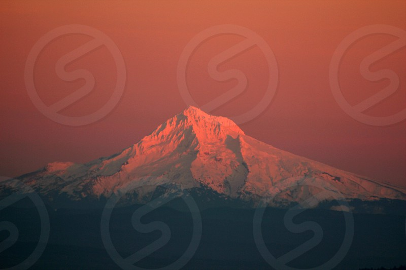 View of Mt Hood from the Pittock Mansion at Sunset photo