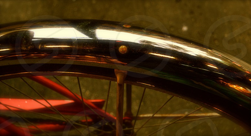 Bicycle wheel-guard reflection photo