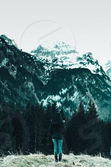 alps mountain woman mood blue color emotion europe switzerland schweiz photo