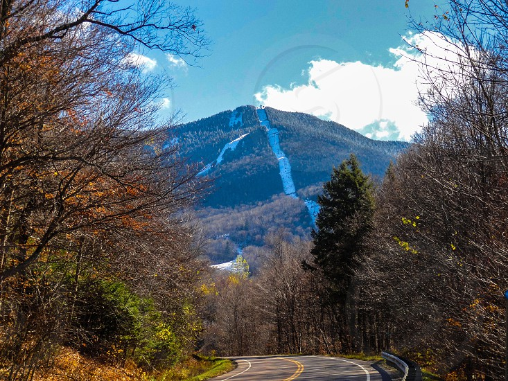 road way and mountain view photo