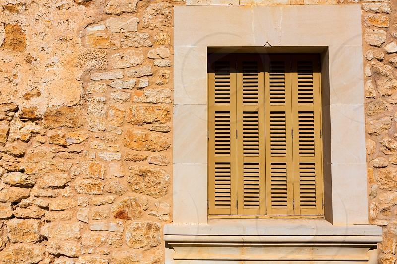 Majorca Santanyi village in Mallorca Balearic islands window shutters detail photo