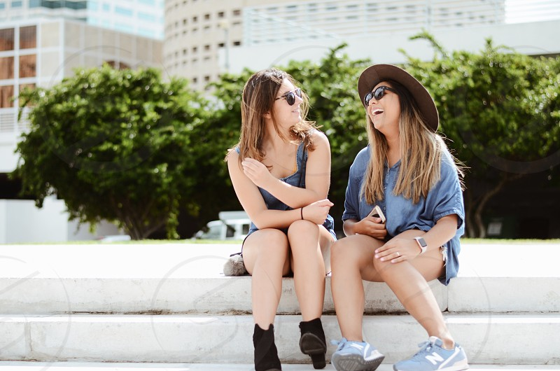 City life hangout friends smile laugh good times chill happy downtown Tampa fun outside  photo