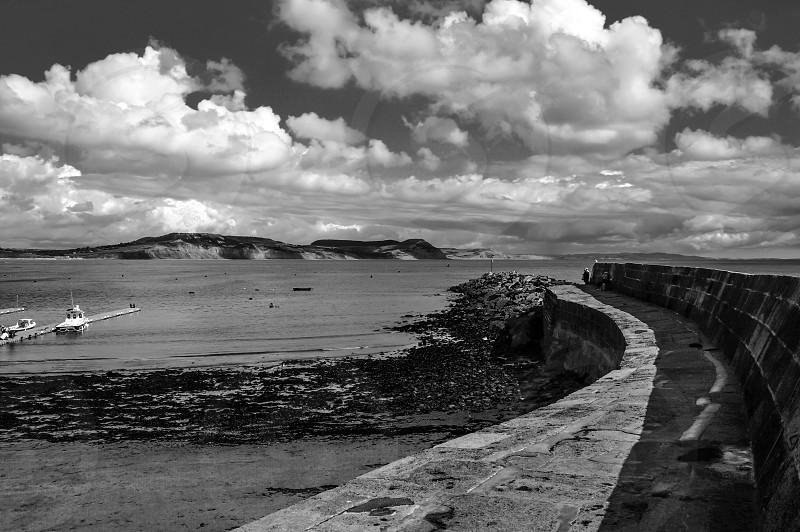 Harbour wall sea port boats Coast coastal  photo