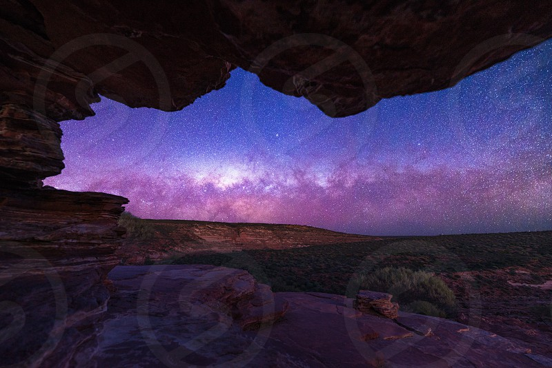 View of the Milky Way galaxy through Nature's Window in Kalbarri National Park photo