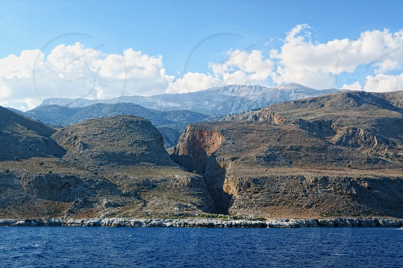 View into the Aradena gorge from the Libyan Sea side (Crete). photo