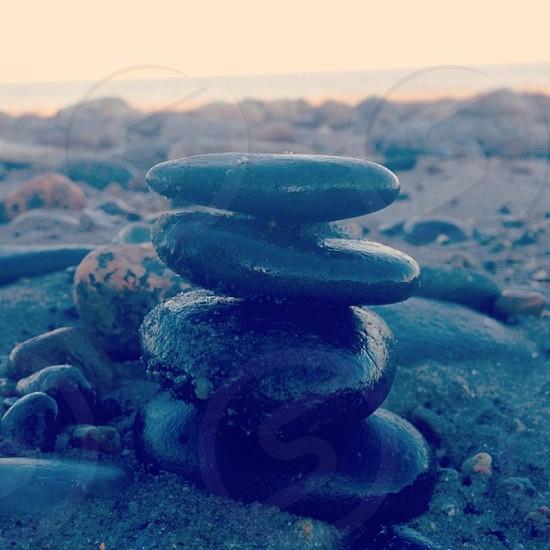 Zen rocks on the beach.  photo