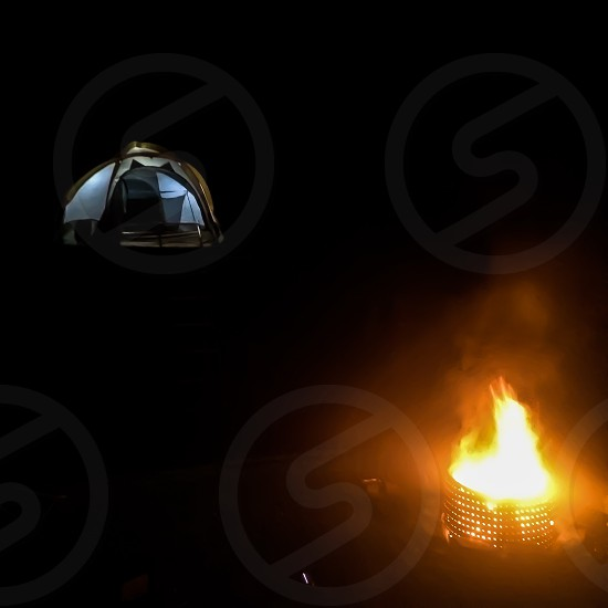 camp fire on photo