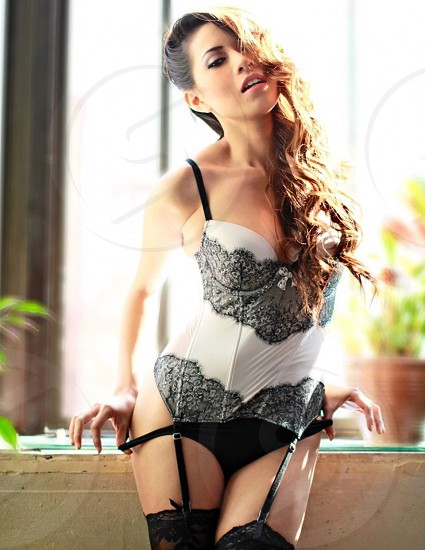 women's black and white lace bustier photo
