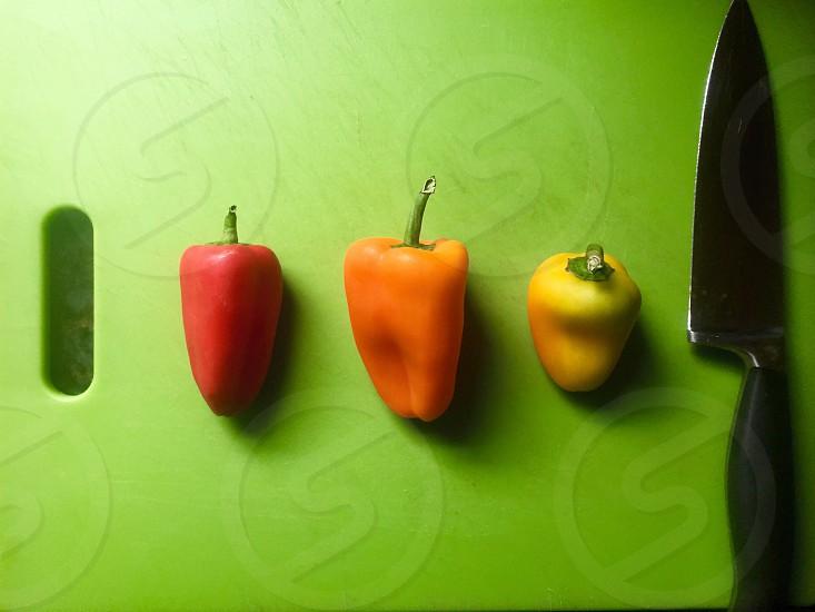 Cutting Board Sessions: Tri Colored Peppers Pre Chop photo