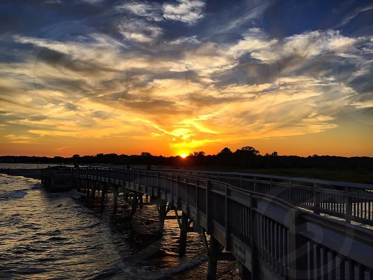 bridge photo during sunset photo
