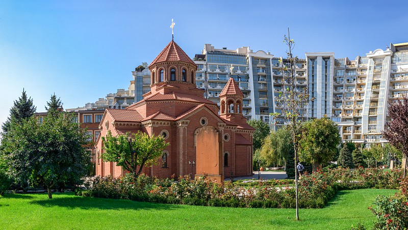 Odessa Ukraine - 09.23.2019. The Armenian Apostolic Church is the national church of the Armenian people. Part of Oriental Orthodoxy it is one of the most ancient Christian communities. photo