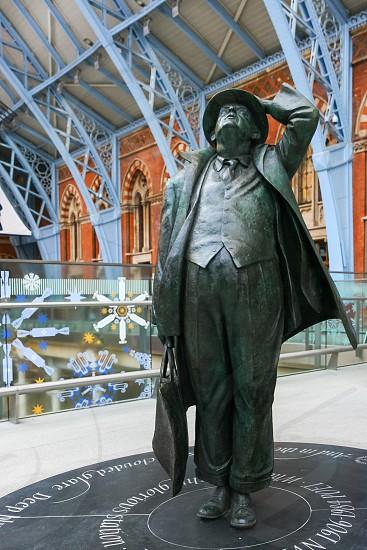 John Betjeman statue on display at St Pancras International Station photo