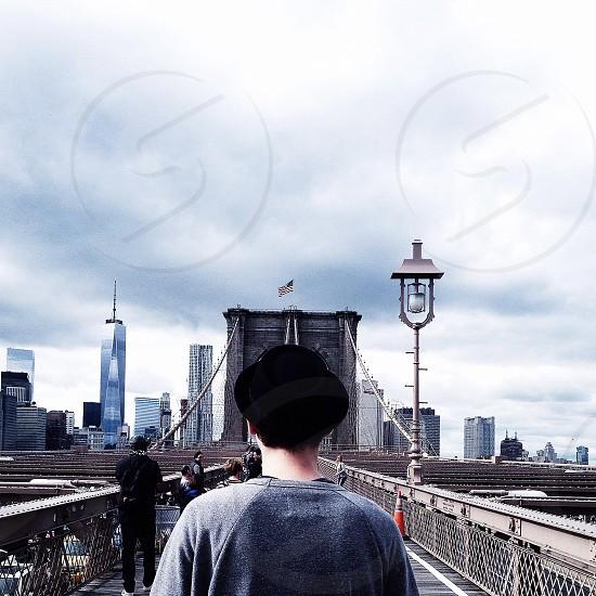 people on brooklyn bridge photo