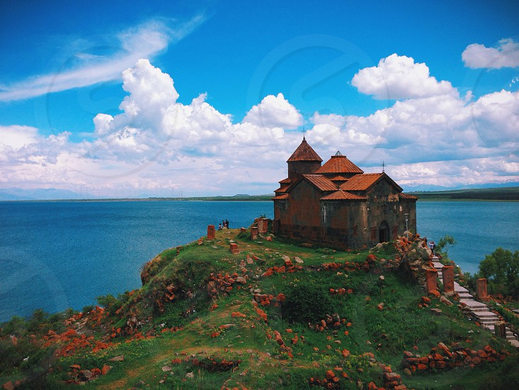 Hayravank monastery on the shores of Lake Sevan photo