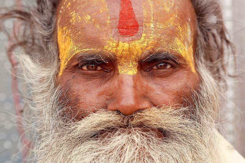 Portrait of the gray-haired Hindu pilgrims on the Kumbh Mela festival in Haridwar. photo