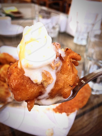 Food banana vanilla ice cream fried desert love hot cold photo
