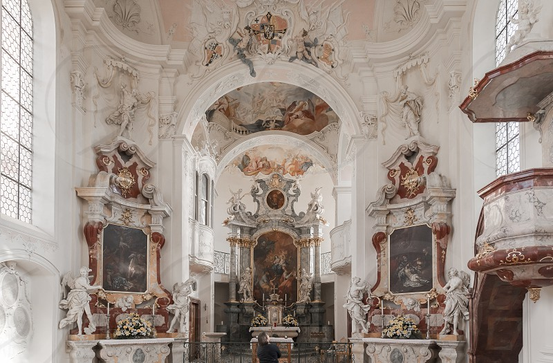 The inside of a baroque church on the island of Mainau at the Lake Constance photo