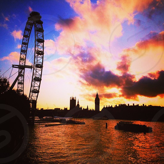 London Eye • Houses of Parliament • Big Ben • Sunset   photo