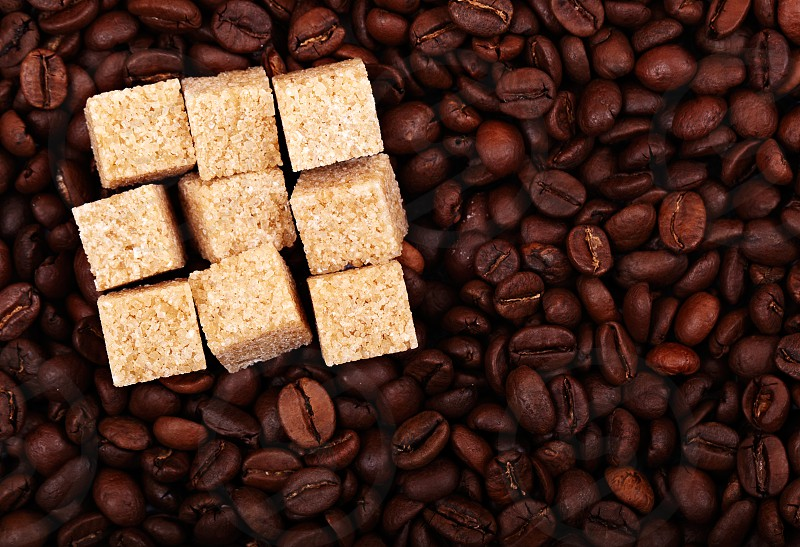Coffee beans background with nine brown sugar cubes. Natural morning light. photo