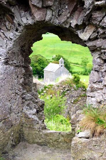Old church through ancient ruins near Blarney Ireland.  photo