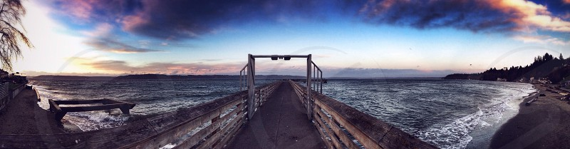 brown dock panoramic photography photo