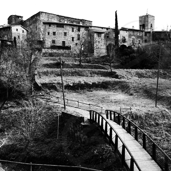 A medieval-era hilltop town in La Garrotxa Catalonia Spain. photo