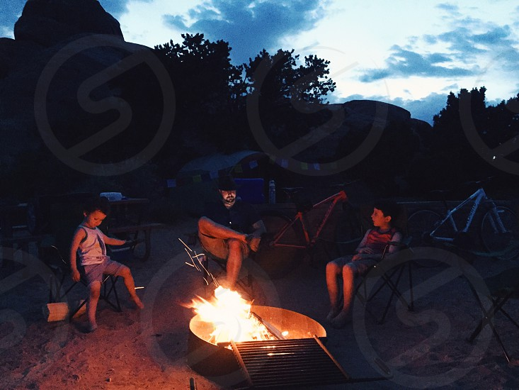 Arches National Park Utah camping family campfire  photo