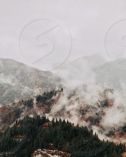 Fog clouds mountain mist weather  photo