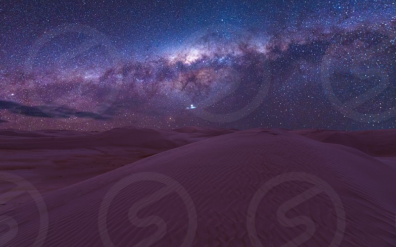 Milky Way galaxy above the Nambung desert in Western Australia photo