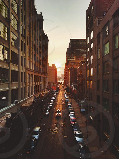 NYC street sunset. photo
