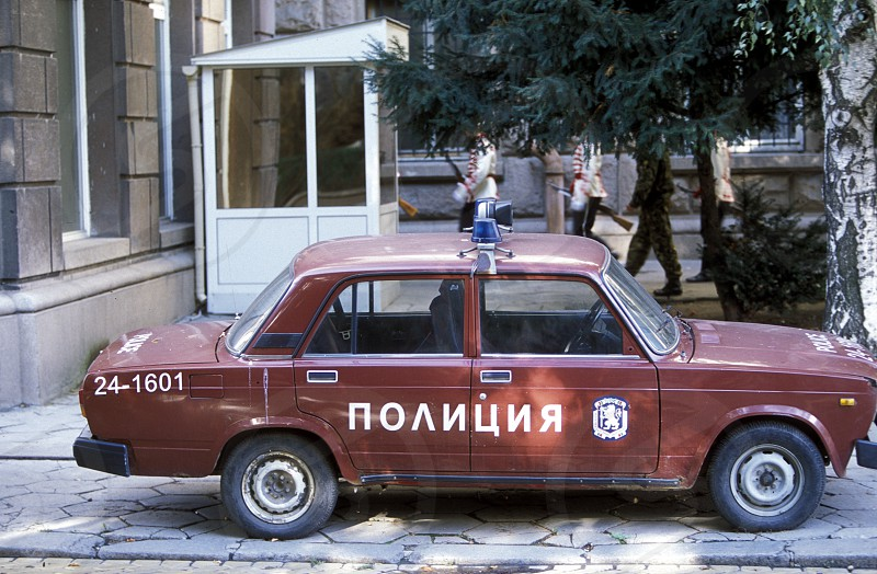 a old police car in the city of Sofia in Bulgaria in east Europe. photo