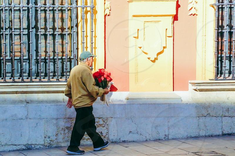 Street photography  man elderly roses businessman sunshine  salesman street walking photo