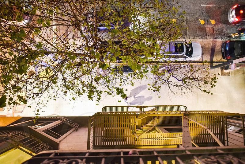 fire escape high sidewalk city street photo