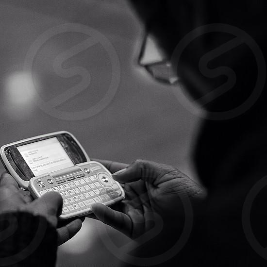 man using a phone photo