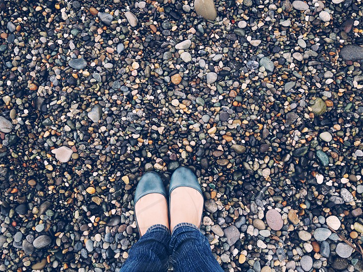 rocky pebble shores from where i stand  photo